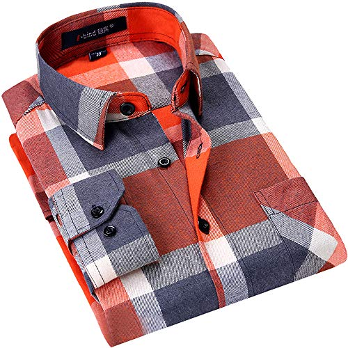 DOKKIA Men's Dress Slim Fit Buffalo Plaid Checkered Long Sleeve Flannel Shirts (Orange Buffalo Tartan, Large)