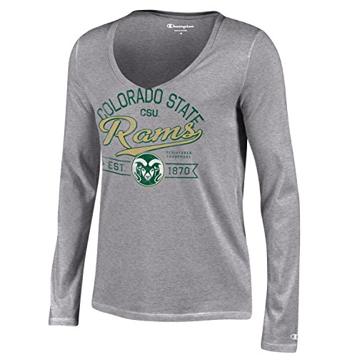 Champion NCAA Colorado State Rams Women's University Long sleeve V-Neck T-Shirt, Large, Gray