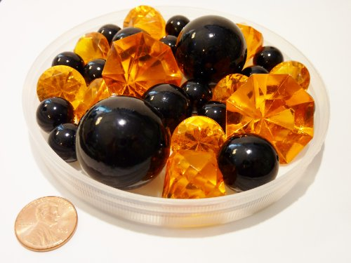Halloween 30 Jumbo & Assorted Sizes Black, Orange Pearls & Gems Vase Fillers. NOT INCLUDING THE TRANSPARENT WATER GELS FOR FLOATING THE PEARLS (SOLD (Halloween Centerpiece Ideas Cheap)