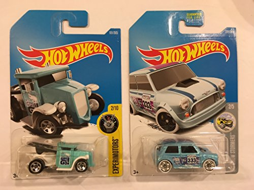Hot Wheels 2017 Experimotors Gotta Go (Toilet Car) 101/365, Turquoise & BONUS: HW Snow Stormers 2/5 Morris Mini (Light Blue) 231/365 (231 Light)