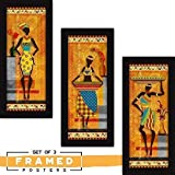 Fatmug Wall Paintings For Living Room With Frame - Tribal Abstract Home Decor Large Art Bedroom -Set Of 3