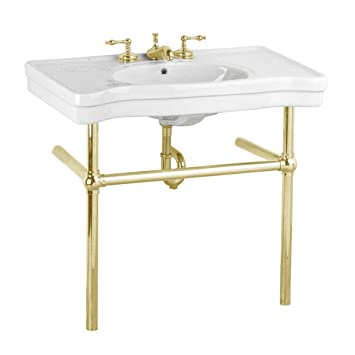White Bathroom Console Sink With Brass Stand Grade A Vitreous China 8 Inch  Widespread Faucet Holes