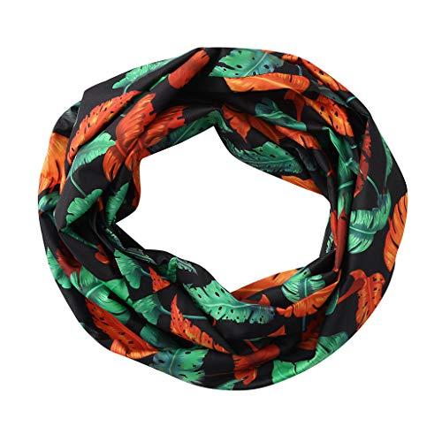 CapsA New Women Print Winter Convertible Infinity Loop Scarf Zipper Pocket Scarves (Black)