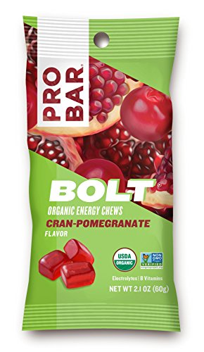 PROBAR – BOLT Organic Energy Chews, Cran-Pomegranate, 12 Count – USDA Organic, Gluten-Free, Fast Fuel Gummies