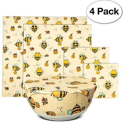 UGOS Organic Beeswax Food Wraps - Reusable Bees Wax Paper Wrap, Assorted 4 Pack (Bees)