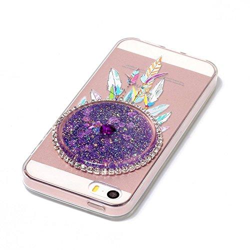 Coque iPhone 5S, Herzzer Cristal Clear Etui pour Apple iPhone SE / iPhone 5S / iPhone 5 Transparent et Liquide Sables de Flux Diamant Sparkle Glitter Housse Etui Bling Paillettes Arrière Case [Attrape