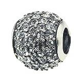 Beads Hunter 925 Sterling Silver Charm Bead Crystal Ball & Spacer Fit Pandora & Similar 3mm Bracelet