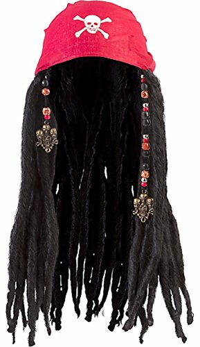 Chest Wig (Amscan Notorious Pirate Party Bandana Wig with Dreads Accessory Synthetic Hair (1 Piece), One Size, Black)