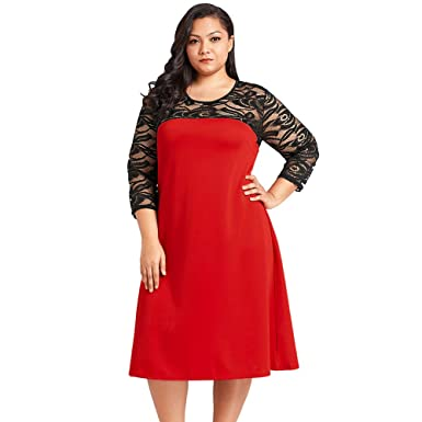 c9776614e7 Women S Plus Size 3 4 Lace Sleeve Midi Fall Dress Loose Fit A Line  Patchwork Casual Party Cocktail Swing Dress (XL