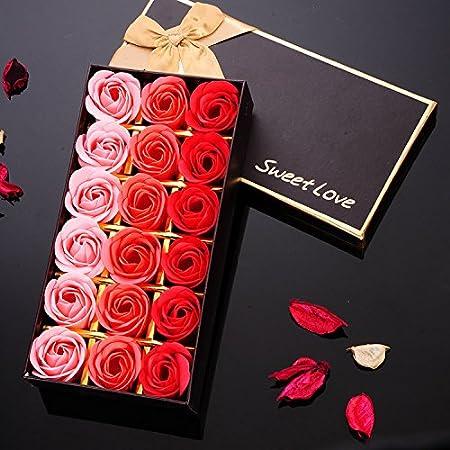 Yunhigh Hecho a Mano Flores jabón perfumado baño pétalos de Rosa Flores de jabón en Caja