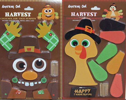 Pumpkin Decor Kit Push In No Carving for Fall Halloween Thanksgiving 2pk (Scarecrow / Turkey) - Turkey Pumpkin Kit