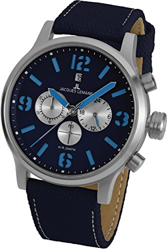 Jacques Lemans Porto 1-1794G 49mm Stainless Steel Case Canvas Mineral Men's Watch