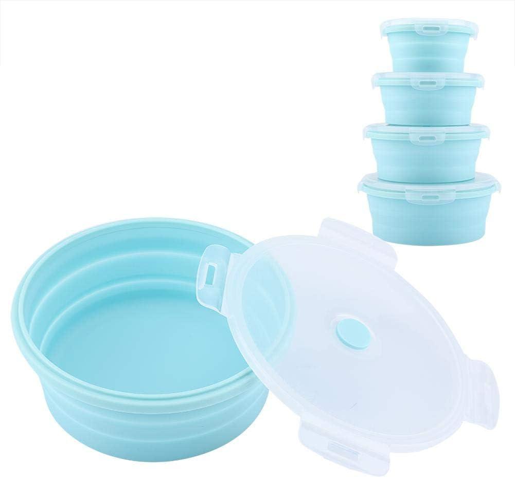 4pcs Juegos de Recipientes de Silicona Plegable Recipientes redondo de silicona Caja de almuerzo plegable duradera para alimentos fr/íos y calientes Fiambrera de silicona Blue