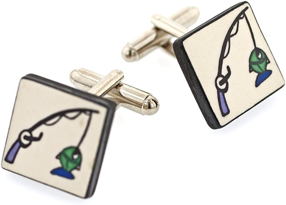 Ceramic Fishing Cufflinks Made in England