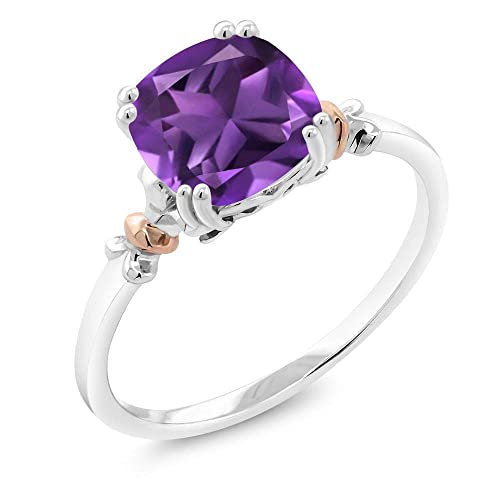 Gem Stone King 925 Sterling Silver and 10K Rose Gold Cushion Purple Amethyst Gemstone Birthstone Women s Ring 2.05 cttw Available 5,6,7,8,9