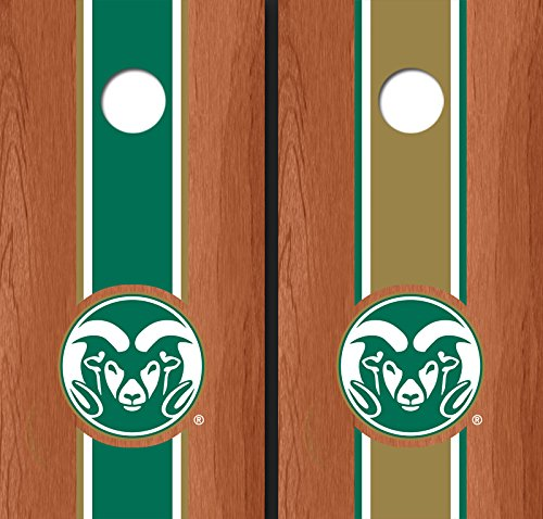 Colorado State University Rams Logo Alternating Rosewood Long Stripe Cornhole Boards CSU 14019