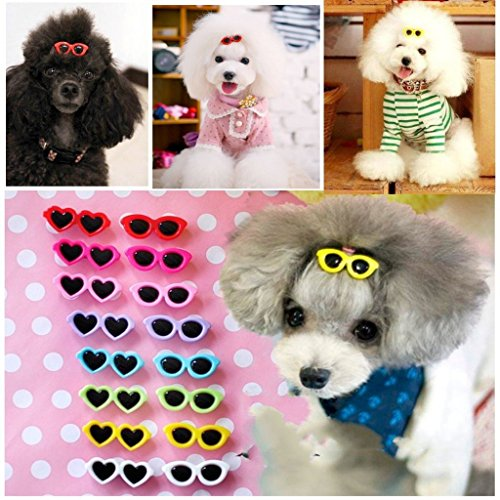 PET SHOW Heart Round Mixed Styles Sunglasses Girls Pet Cat Dog Hair Clips Small Dogs Grooming Hair Accessories With Lobster Clips Pack of - Show Sunglass