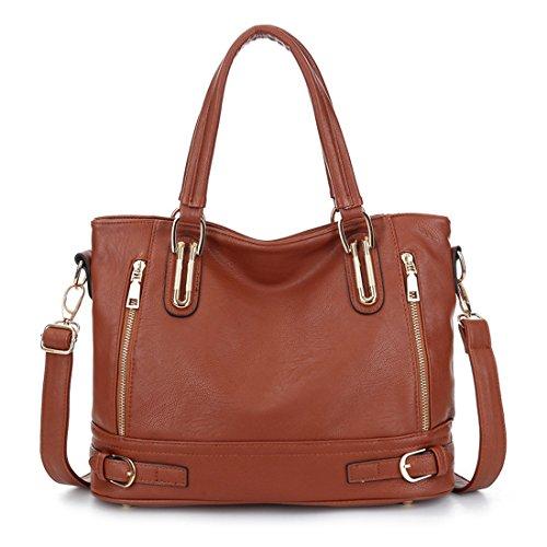 Hobo Purse Handbags Shoulder Mayshe Handle Women's Tote Large Top Brown Capacity cxg4OA