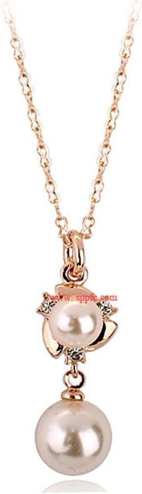 wuligeya Joyería del Collar de la Perla Colgante Diamante