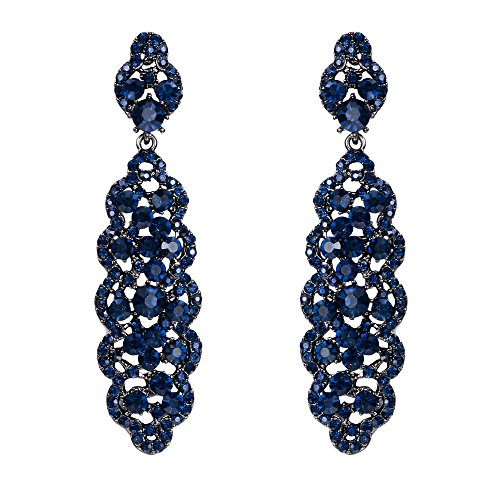 - EVER FAITH Women's Crystal Elegant Wedding Hollow Floral Cluster Dangle Earrings Blue Black-Tone