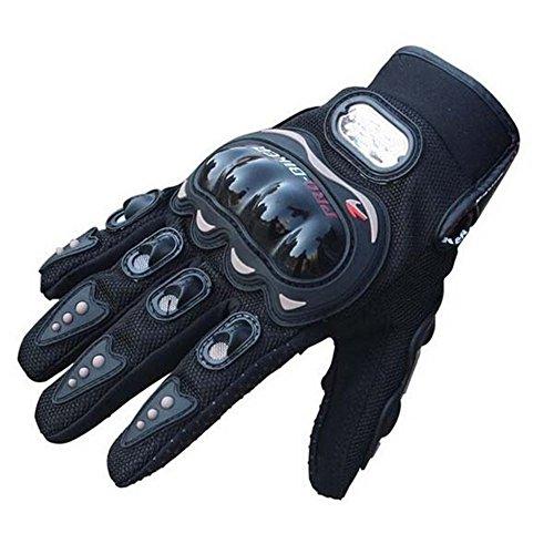 LANSIN(R) Motocross Racing Carbon Fiber Pro-biker Motorcycle Cycling Full Finger Gloves (Black, Red, Blue) (XXL, Black)