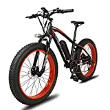 Cyrusher XF660 Fat Tire Electric Bicycles Mountain Bike Snow Bike Motor Bike with 1000W Motor 48, 16AH Panasonic Lithium Battery Pedal Assist (black-red)