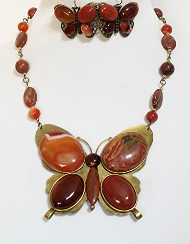 Claire Kern Creations Gemstone Jasper Agate Big Butterfly Necklace Earrings by Claire Kern Creations