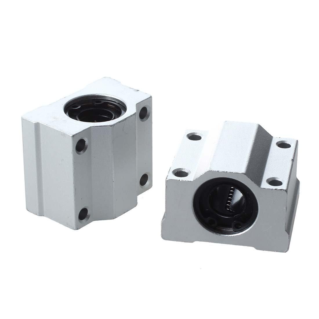 R SODIAL 4 Pcs SC20UU 20mm Aluminum Linear Motion Ball Bearing Slide Bushing for CNC Linear Motion Ball Bearing