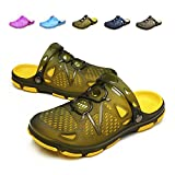 Techcity Unisex Garden Clogs Outdoor Walking Sandals Breathable Sport Slides Summer Non Slip Pool Beach Shower Slippers Shoes Yellow