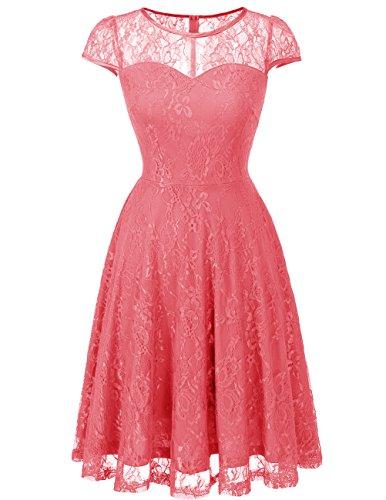Cerimonia Dresstells Vestiti Coral Pizzo Casual Corta Donna Vintage Vestito Manica 1vvqHFfwx