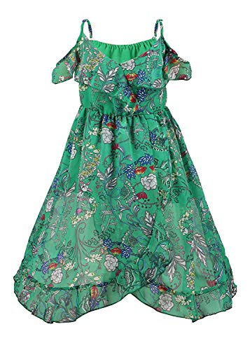 Girls' Summer Spaghetti Strap Off Shoulder Flowers Boho Maxi Dress(Green 7-8 Years/Tag Size140) ()