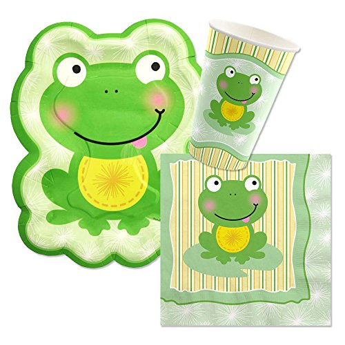Tableware Plates, Cups, Napkins - Bundle for 16 (Birthday Frog)