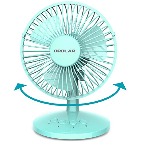OPOLAR First Oscillating Mini Fan, AA Battery (not Included) Operated or USB Powered, Portable Table Fan, 3 Speeds, Adjustable Head, Enhanced Airflow and Low Noise, Personal Office Fan for Home-Blue ()