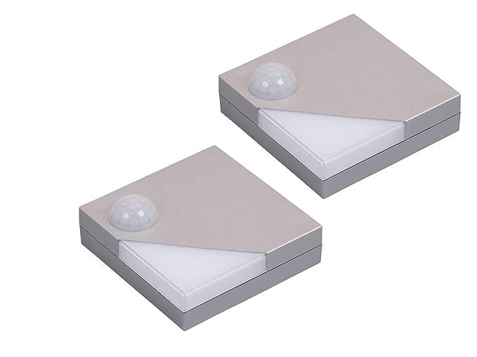 Juego de 2 batería Alimentado por Armario – Lámpara LED con sensor de movimiento y de