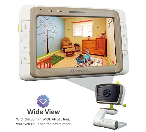 "$89.99 Only! MoonyBaby Wide Angle, Split Screen, 5"" Large Screen Video Baby Monitor with Night Vision, Digital Camera, Temperature Monitoring, Long Range, Two Way Talkback (MANUALLY Rotated Camera)"