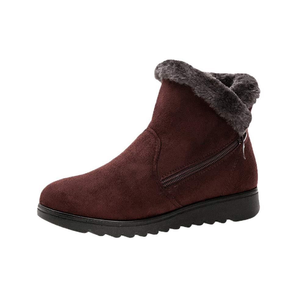 qiansu Femmes Chaussures Plates Classique Bottes De Neige Épaissir Antidérapant Baskets Couleur Unie Chaussures De Sport