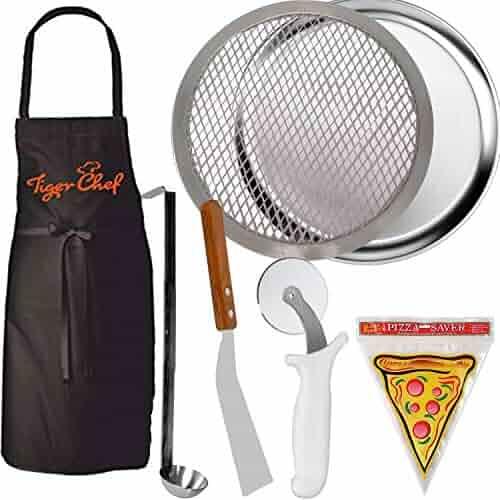 Tiger Chef Pizza Making Kit 5 Piece Pizza Pro Set Pizza Pan, Stone, Wheel, Server, Sauce Ladle