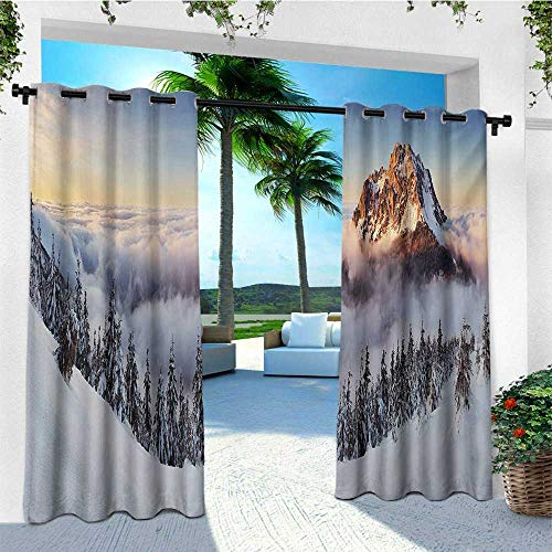(leinuoyi Mountain, Outdoor Curtain Set of 2 Panels, Roszutec Slovakia Mountain Fatra with Smoky Foggy Peak at Winter Panoramic Picture, for Gazebo W120 x L96 Inch Multicolor)
