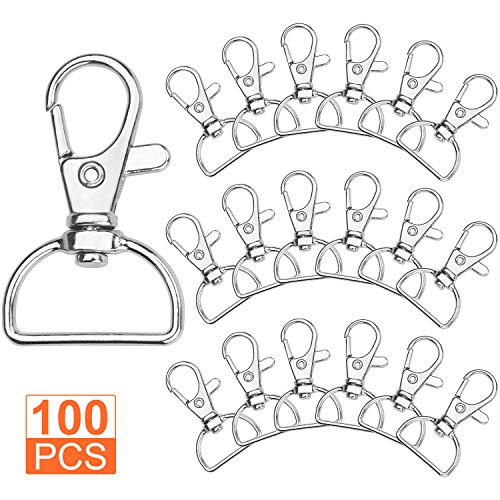 Acrux7 Swivel Clasps D Ring Metal Lobster Claw Clasps Lanyard Snap Hook for Crafting & DIY Lanyard Making, 100 -