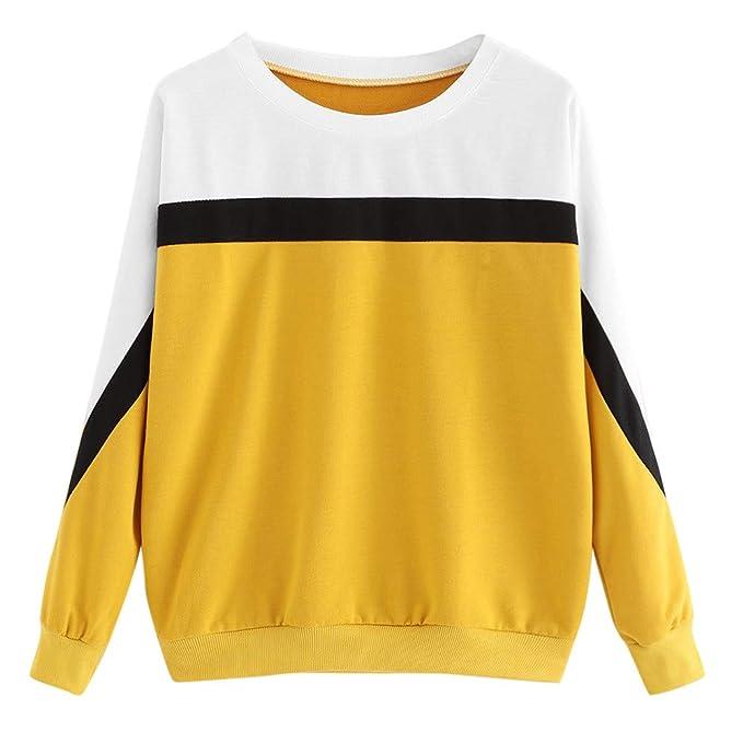 timeless design 761ee e9916 TWIFER Damen Patchwork Langarm Farbblock Sweatshirt Pullover ...