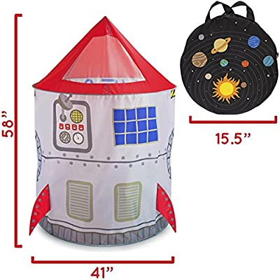 Imagination Generation Space Adventure Roarin' Rocket Play Tent with Milky Way Storage Bag - Indoor/Outdoor Children's Astronaut Spaceship Playhouse, Great for Ball Pit Balls and Pretend Play: Toys & Games
