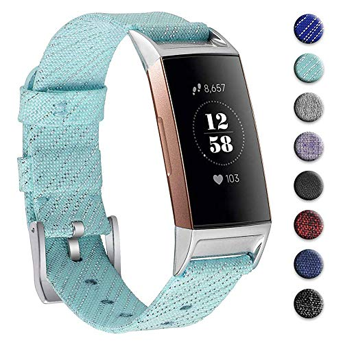hooroor Woven Fabric Breathable Replacement Bands Compatible for Fitbit Charge 3 and Charge 3 SE Fitness Activity Tracker, Soft Accessory Sports Band Wristbands Strap for Women Men (Bling Aqua, Small)