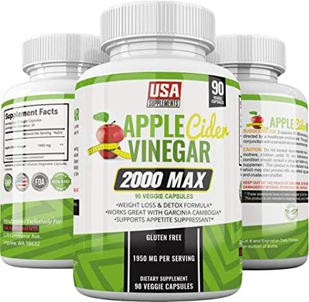 Apple Cider Vinegar Capsules - 1,950mg - 100% Pure Raw Organic Veggie Caps ACV for Women & Men