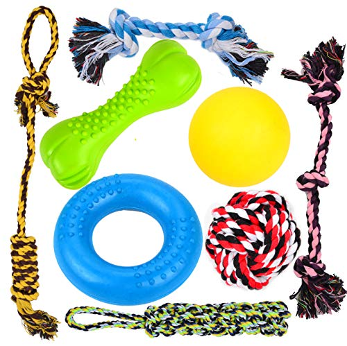 Youngever 8 Durable Dog Chew Toys - Puppy Toys - Value Pack - for Small and Medium Dogs - 3 Puppy Teething Toys 100% Natural Rubber (Dog Ring, Dog Bone, Dog Ball) -5 Dog Ropes Toys