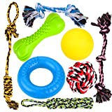 8 Durable Dog Chew Toys , Puppy Toys , for Small and Medium Dogs , 3 Puppy Teething Natural Rubber Toys (Dog Ring, Dog Bone, Dog Ball), 5 Dog Ropes Toys, Youngever