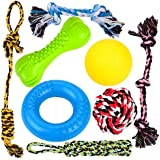 Youngever 8 Durable Dog Chew Toys - Puppy Toys - Value Pack - for Small & Medium Dogs -3 Puppy Teething Toys 100% Natural Rubber(Dog Ring, Dog Bone, Dog Ball)-5 Dog Ropes Toys