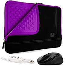 SumacLife Shock Absorbent Purple Black Sleeve for Lenovo IdeaPad / ThinkPad / Yoga 13.3inch + USB HUB and Wireless Mouse