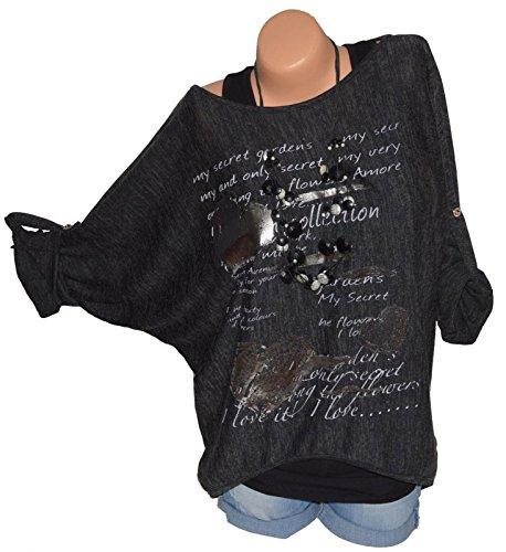 Tops Bluse Jumper Fashion Nero Simple Maglie Autunno Tunica a Quotidiani Casual Manica T Stampa e Lunga Camicie Shirts Maglietta Moda Primavera Donne HFRRc1qIw