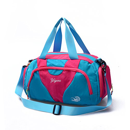 Hit Color Swim Bag Duffle Bag Travel Sports Gym Bag Waterproof with Dry Wet Area Shoes Compartment for Women Men (BLUE - Duffle Speedo Bag