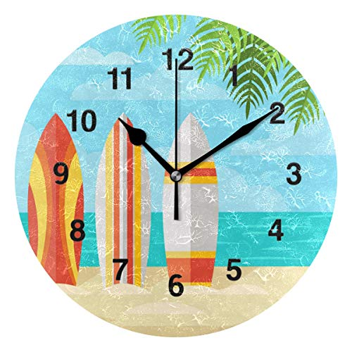 - Jojogood Summer Beach and Surfboards Wall Clock Silent Non Ticking Acrylic Decorative Round Clock for Home Office School Artwork Gift